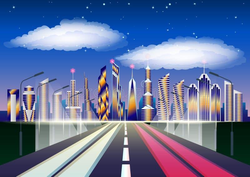 Arquitetura da cidade futura Estrada que conduz à cidade arranha-céus contra nuvens e o céu estrelado ilustração do vetor