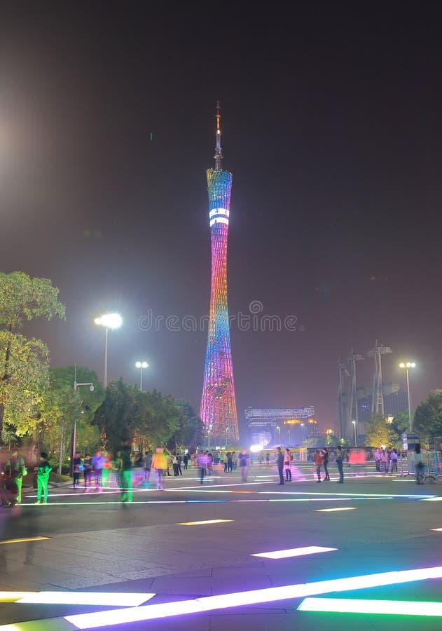 Arquitetura da cidade Guangzhou China da noite da torre do cantão imagem de stock royalty free