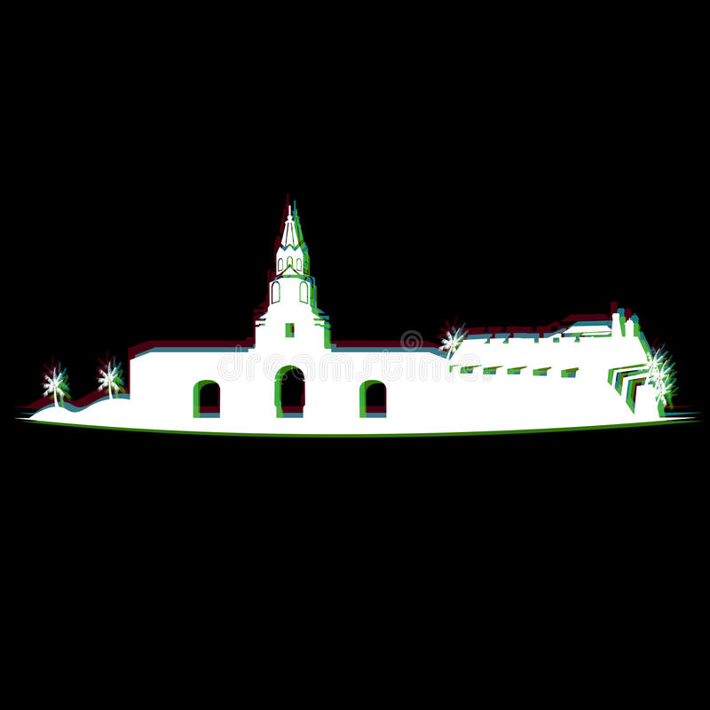 Arquitetura da cidade isolada de Cartagena ilustração do vetor