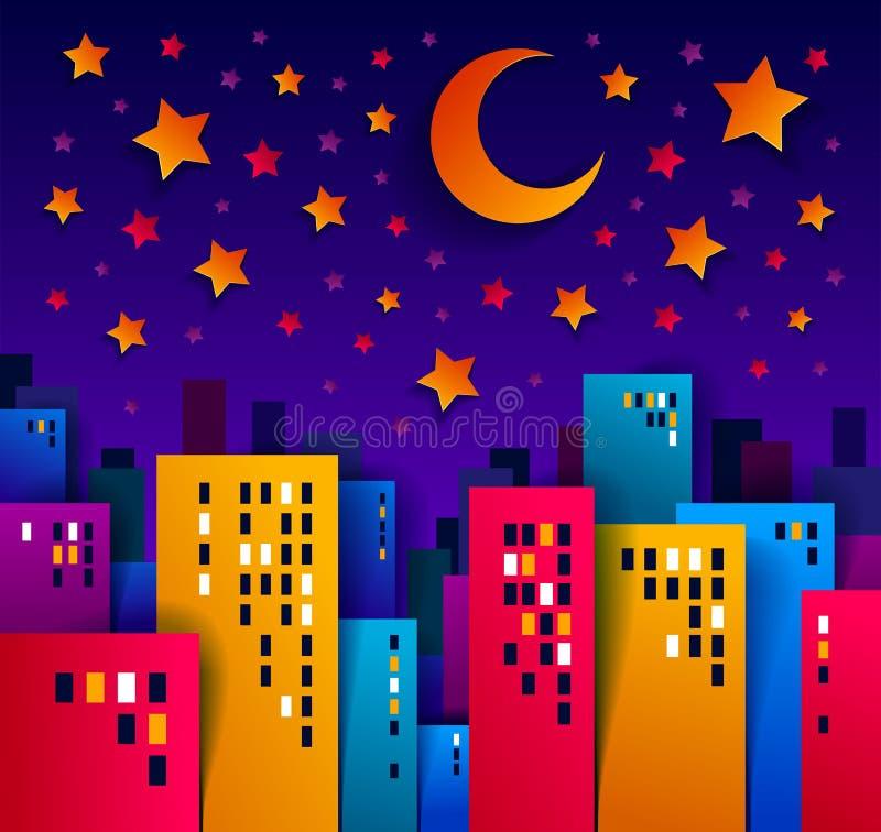 Arquitetura da cidade na noite com illust do vetor da lua e dos desenhos animados das estrelas ilustração royalty free