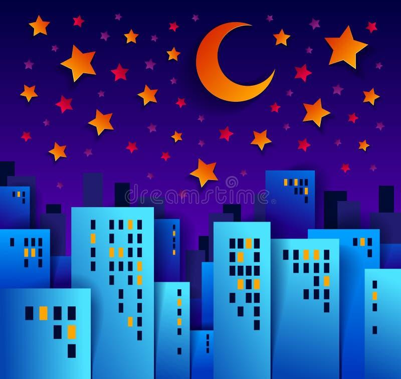 Arquitetura da cidade na noite com ilustração no estilo cortado de papel da aplicação das crianças, construções altas do vetor da ilustração stock