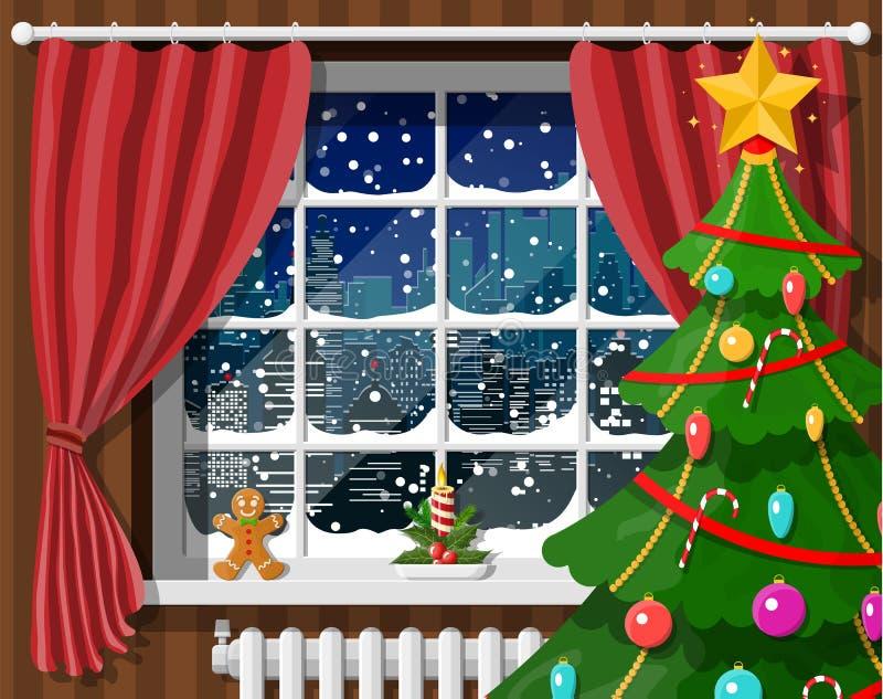 Arquitetura da cidade nevado na janela ilustração stock