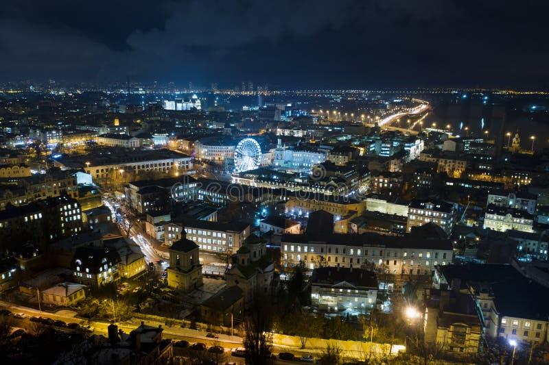 Arquitetura da cidade da noite de Kiev fotografia de stock royalty free