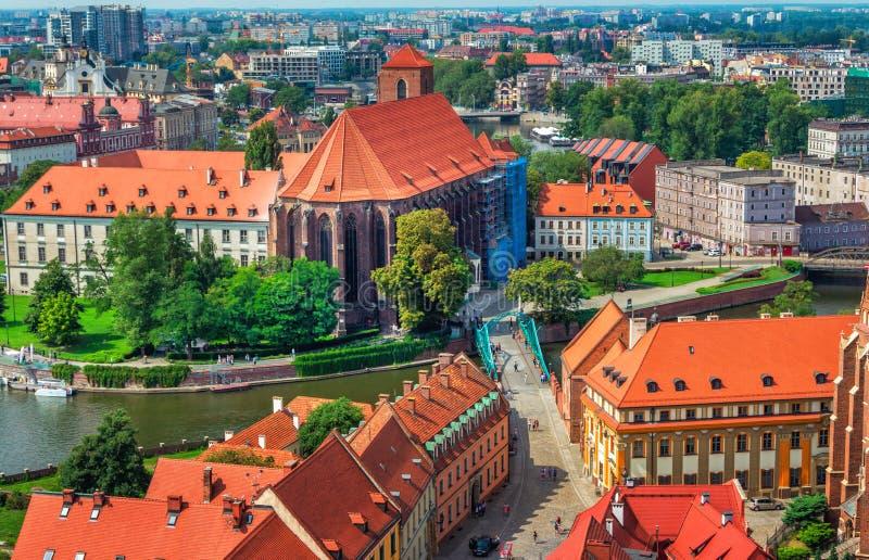 Arquitetura da cidade panorâmico aérea de Wroclaw foto de stock