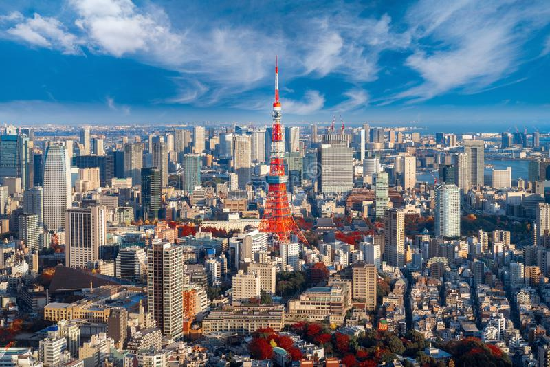 Arquitetura da cidade para a torre do Tóquio na cidade do Tóquio fotos de stock royalty free