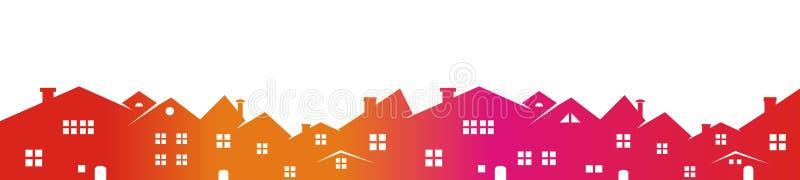 Arquitetura da cidade, silhueta colorida ilustração royalty free