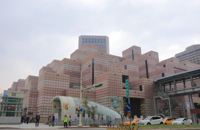 Arquitetura da cidade Taipei Taiwan da noite do centro do comércio mundial imagens de stock