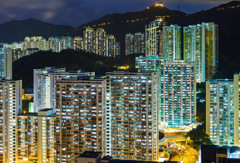 Arquitetura da cidade urbana em Hong Kong imagem de stock