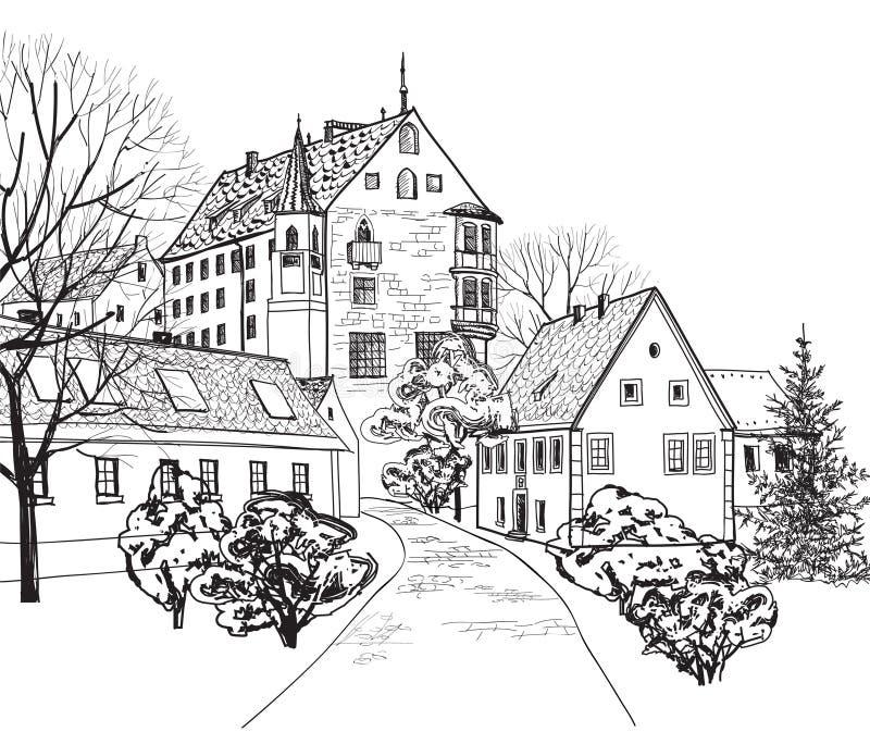 Arquitetura da cidade velha da cidade com rua. Esboço da construção histórica e da casa. ilustração royalty free