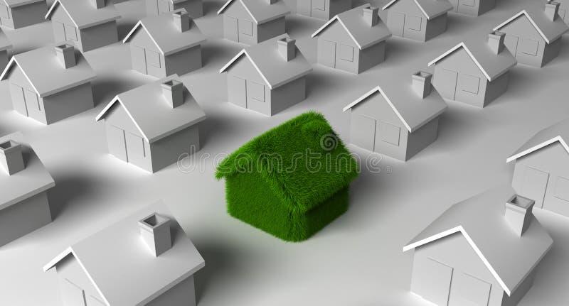 Arquitetura da ecologia da natureza da casa verde ilustração do vetor