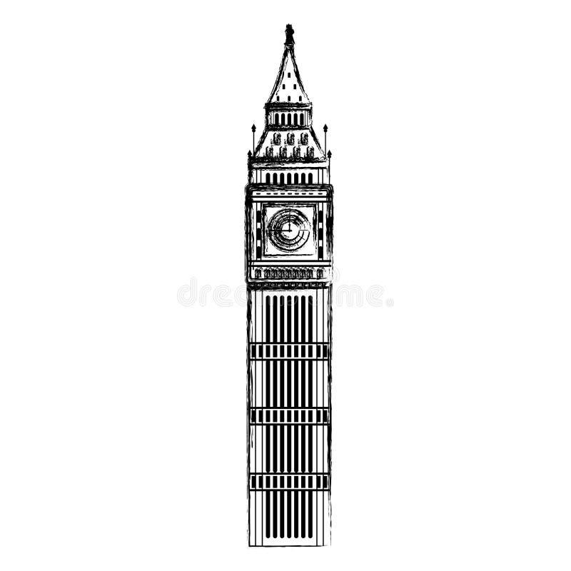 Arquitetura da história da torre de ben grande do Grunge ilustração royalty free