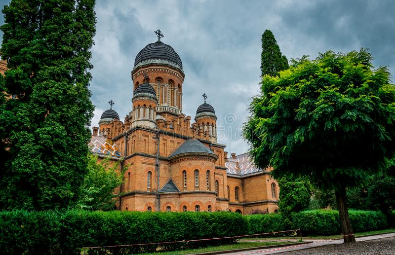 Arquitetura da universidade e da residência nacionais do metropolita em Chernivtsi, Ucrânia foto de stock