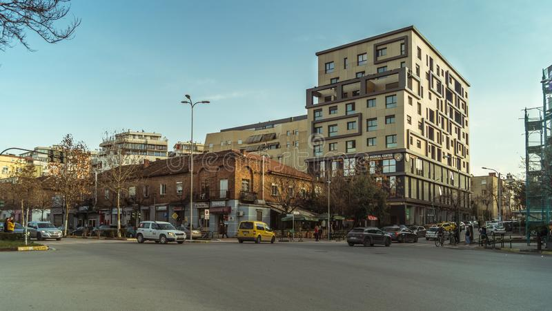Arquitetura das construções de Tirana fotografia de stock