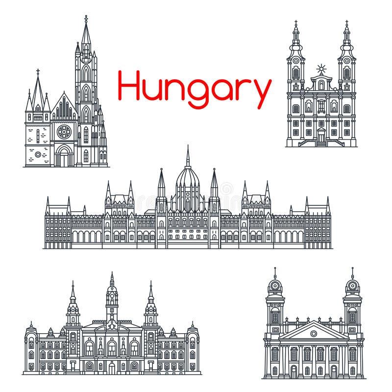 Arquitetura de ícones do vetor das construções de Hungria ilustração stock
