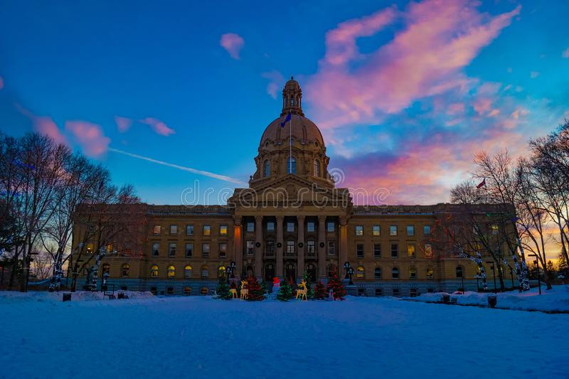 Arquitetura de Alberta Legislature Grounds, Edmonton do Velho Mundo, Alberta, Canadá imagem de stock royalty free