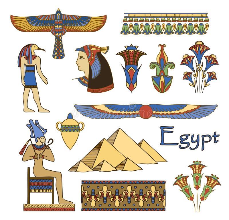 Arquitetura de Egipto e jogo de cor dos ornamento ilustração stock