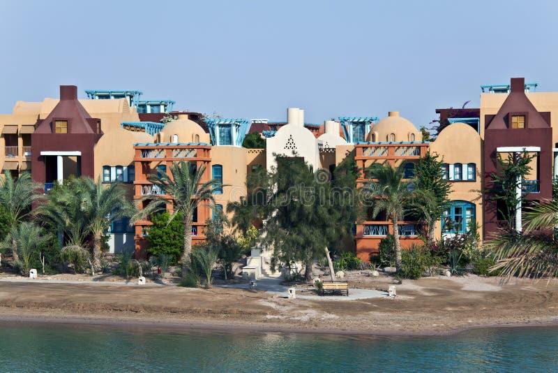Arquitetura de Nubian no EL Gouna, Mar Vermelho, Egipto imagem de stock