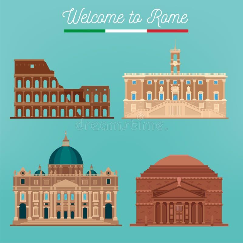 Arquitetura de Roma Turismo Italia Construções de Roma ilustração do vetor