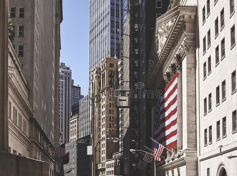 Arquitetura de Wall Street, New York City imagens de stock royalty free