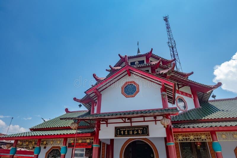 Arquitetura do hoo grande de cheng da mesquita em Purbalingga, Indon?sia fotos de stock royalty free