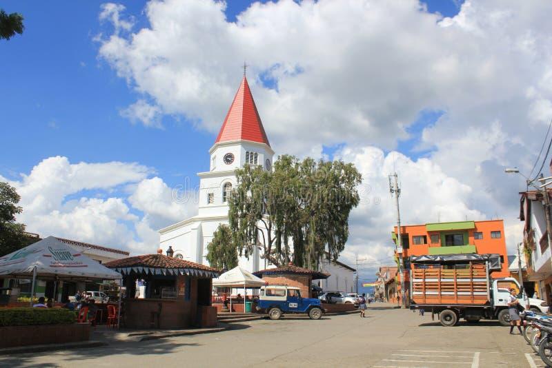 Arquitetura do parque de Armênia, Antioquia, Colômbia fotos de stock royalty free