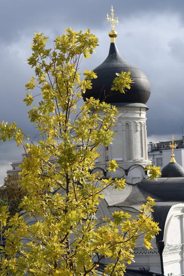 Arquitetura do parque de Zaryadye em Moscou Igreja da concepção de St Anne fotografia de stock