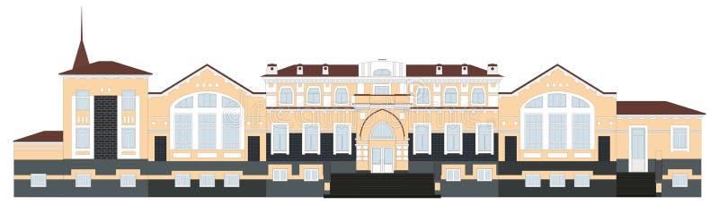 Arquitetura do russo Estação de trem na cidade de Kungur A construção velha, região do permanente ilustração do vetor