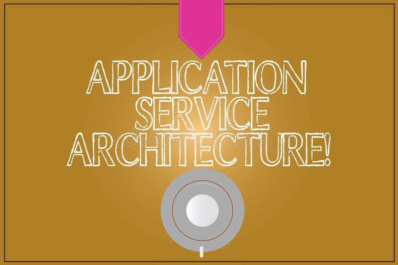 Arquitetura do serviço da aplicação da exibição do sinal do texto Projeto conceptual da foto das soluções que ligam o café dos ap ilustração stock