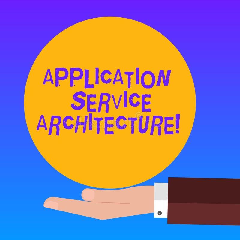 Arquitetura do serviço da aplicação do texto da escrita Projeto do significado do conceito das soluções que ligam apps e dados Hu ilustração stock