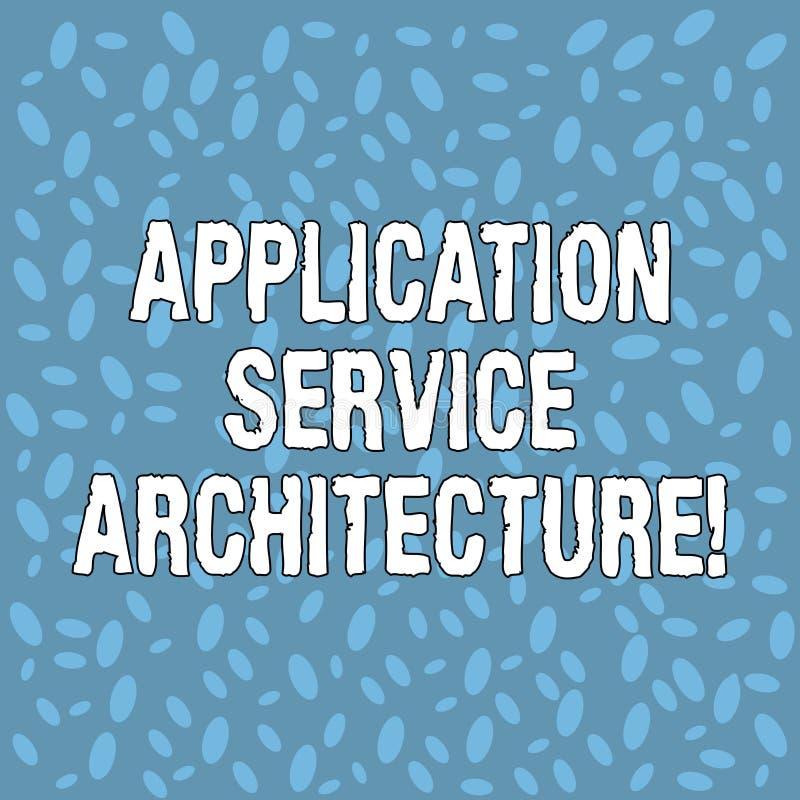 Arquitetura do serviço da aplicação do texto da escrita Projeto do significado do conceito das soluções que ligam os apps e os da ilustração stock