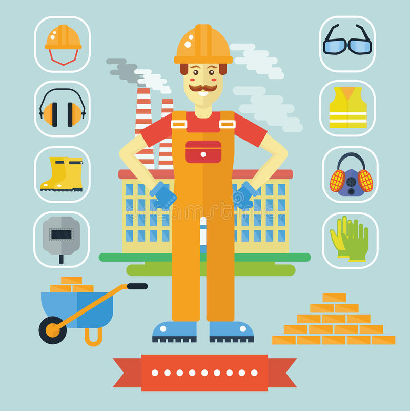 A arquitetura e a construção colorem o conceito liso com ícones Homem do construtor dos desenhos animados do construtor do arquit ilustração royalty free