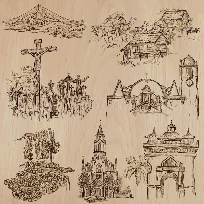 Arquitetura e lugares famosos Bloco do vetor ilustração do vetor