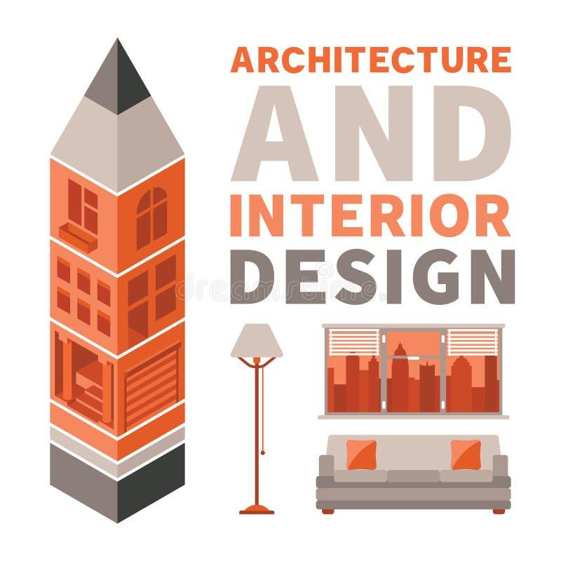 A arquitetura e o design de interiores vector o conceito no estilo liso ilustração royalty free