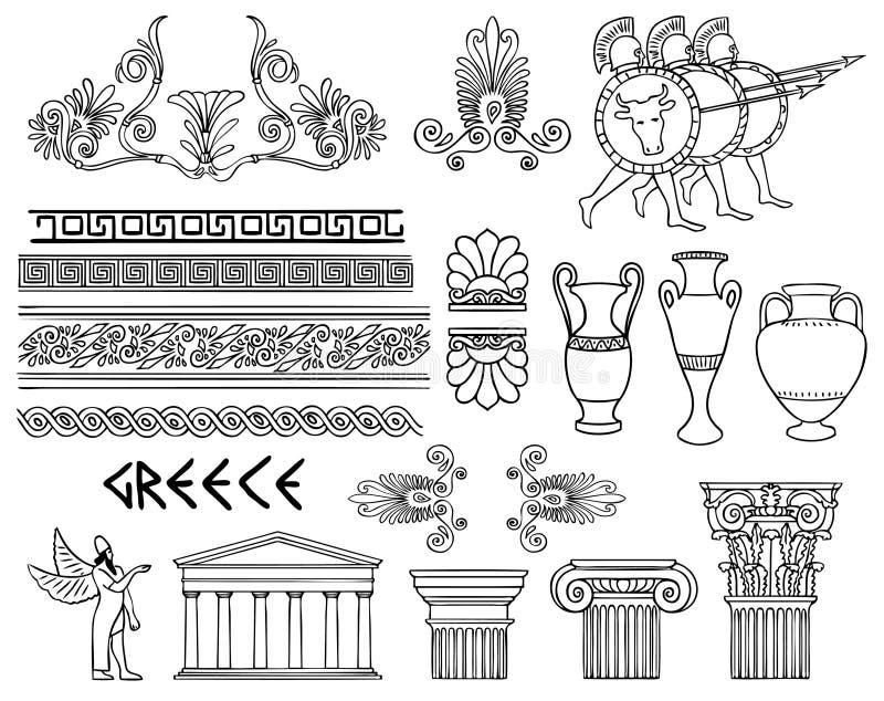 Arquitetura e ornamento de Grécia ajustados ilustração stock