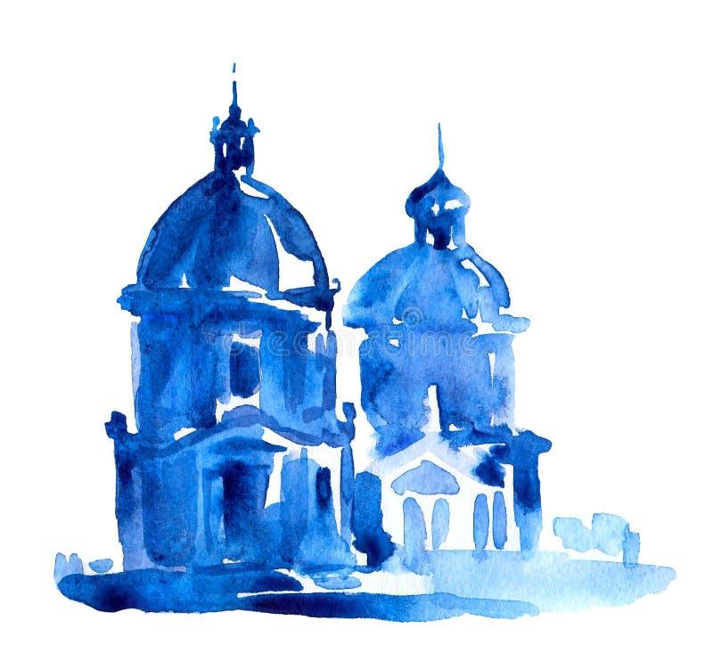 Arquitetura e vistas de Europa Templos e catedrais ilustração do vetor