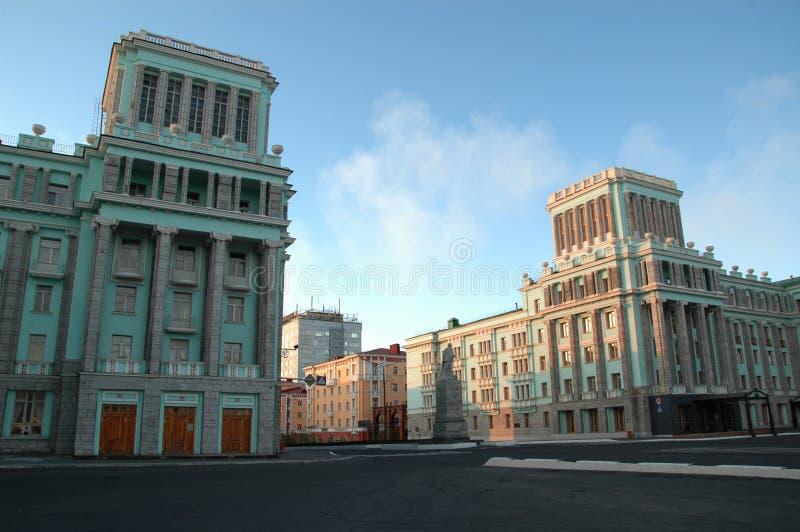 Arquitetura em Norilsk (Rússia) fotografia de stock