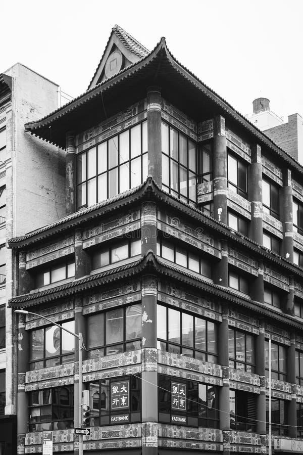 Arquitetura em ruas do canal & do centro, no bairro chinês, Manhattan, New York City fotos de stock