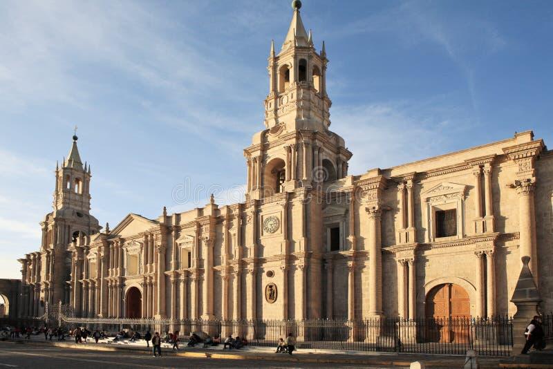 Arquitetura espanhola velha, Arequipa, Peru. imagens de stock