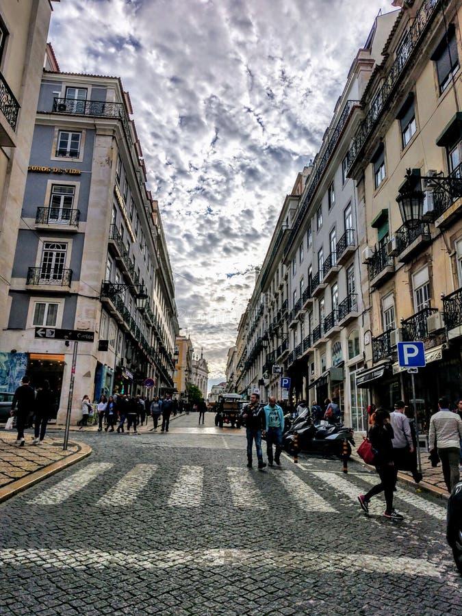 Arquitetura europeia surpreendente da cidade de Lisboa imagem de stock