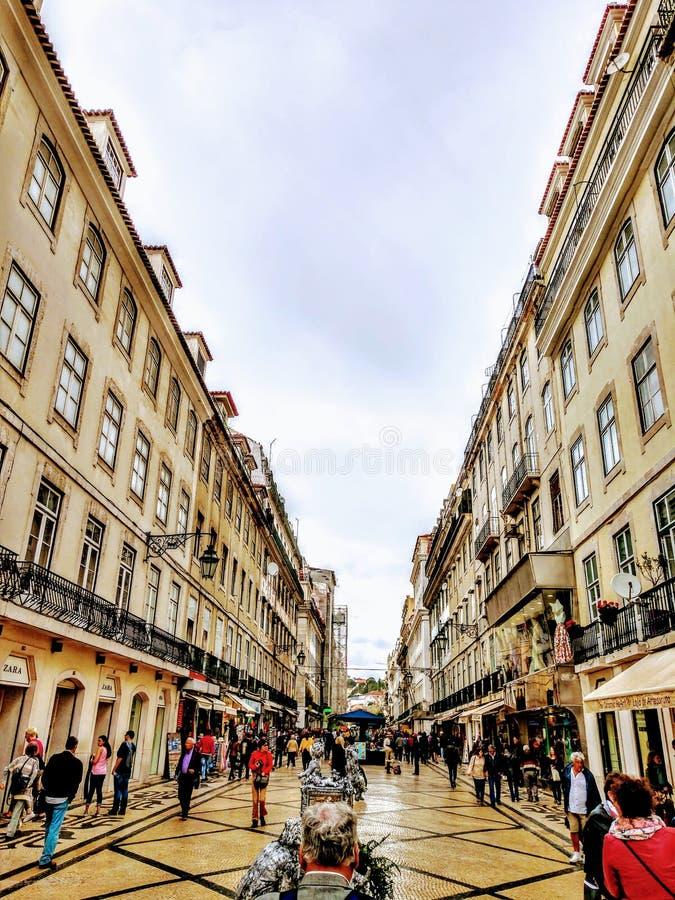 Arquitetura europeia surpreendente da cidade de Lisboa imagens de stock