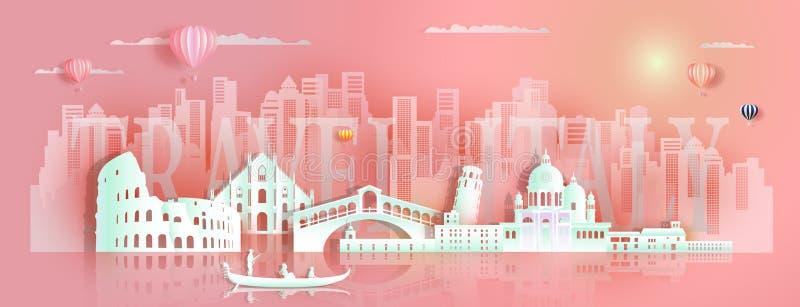 Arquitetura famosa Europa dos marcos de Italia da excursão pela gôndola e pelo turista ilustração stock