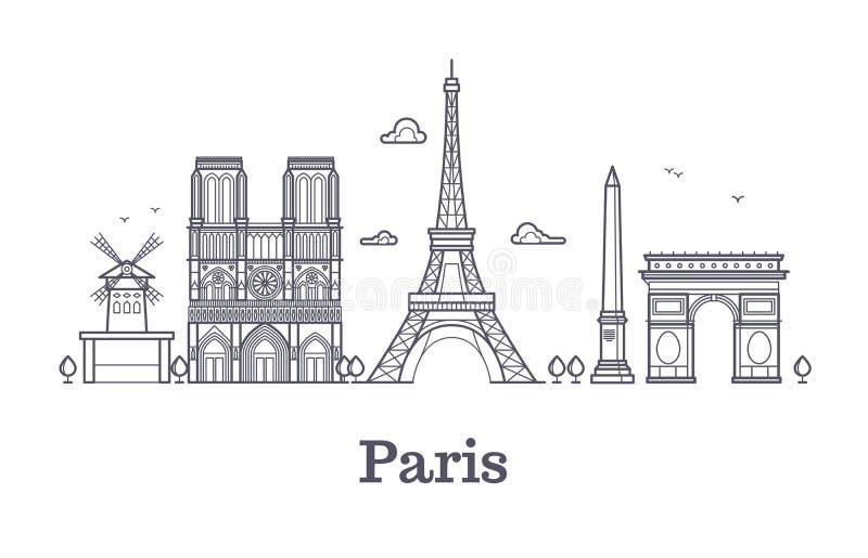 Arquitetura francesa, ilustração do esboço do vetor da skyline da cidade do panorama de Paris ilustração stock