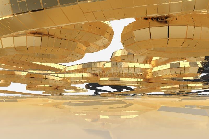 A arquitetura futura moderna do sumário contém construções estranho-dadas forma sob a forma das espirais dirigidas para cima faca ilustração do vetor