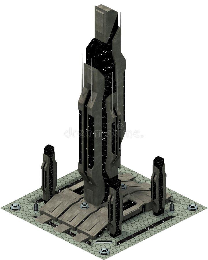 Arquitetura futurista isométrica da ficção científica, arranha-céus do espaço rendição 3d ilustração royalty free