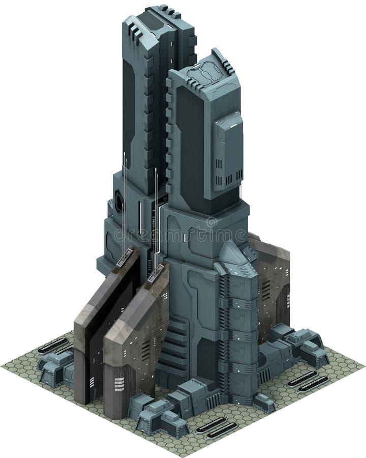 Arquitetura futurista isométrica da ficção científica, base futurista rendição 3d ilustração stock