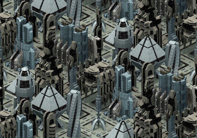 Arquitetura futurista isométrica da ficção científica, cidade do futuro rendição 3d ilustração royalty free