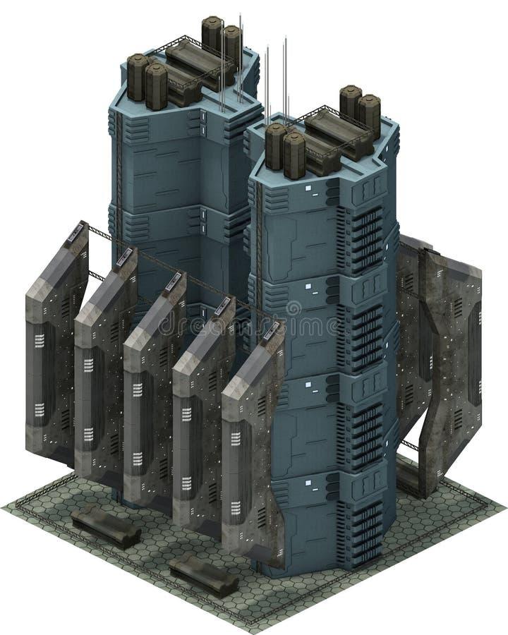Arquitetura futurista isométrica da ficção científica, estação da carga rendição 3d ilustração do vetor