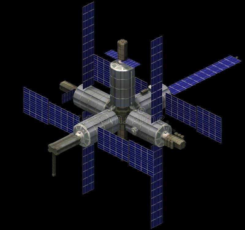 Arquitetura futurista isométrica da ficção científica, spacestation com painéis solares rendição 3d ilustração stock