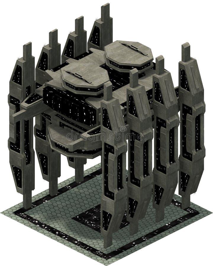 Arquitetura futurista isométrica da ficção científica, spacestation impressionante do embarcadouro rendição 3d ilustração stock