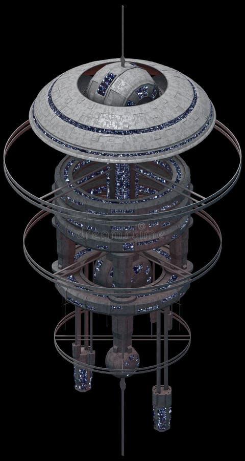Arquitetura futurista isométrica da ficção científica, spacestation poderoso rendição 3d ilustração do vetor